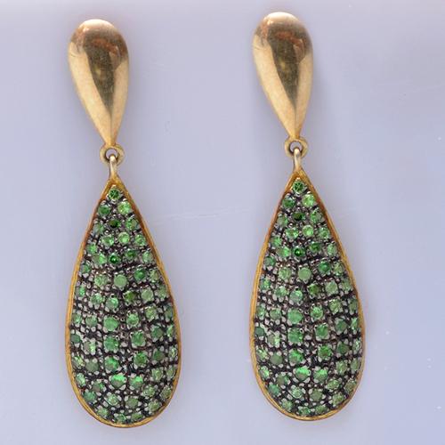 925 Sterling Silver Tsavorite Gemstone Earring