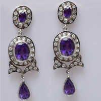 925 Sterling Silver Amethyst & Zircon Gemstone Earring