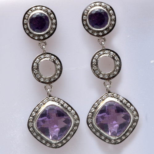 925 Sterling Silver Amethyst & Zircon Gemstone Earring