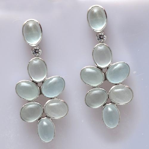 925 Sterling Silver Aquamarine & Zircon Gemstone Earring