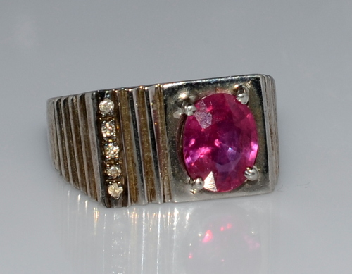 925 Sterling Silver Ruby Diamond Gemstone Jewelry Fashion Men's Ring