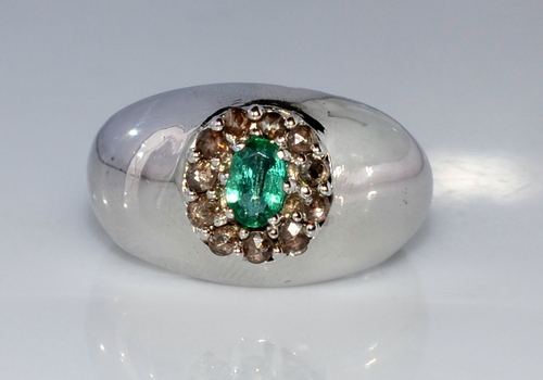 925 Sterling Silver Men's Ring With Emerald & Diamond