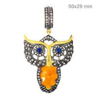 Multi Sapphire Diamond Gold Pendant
