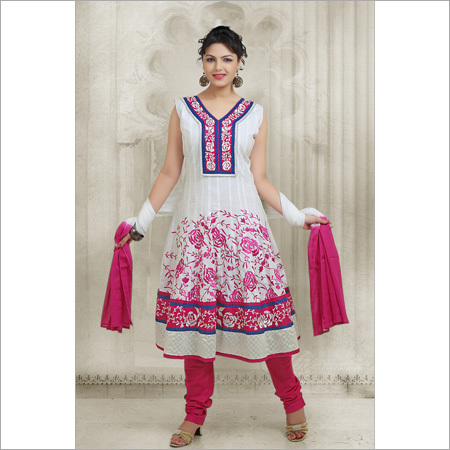 White Cotton Embroidery Suit