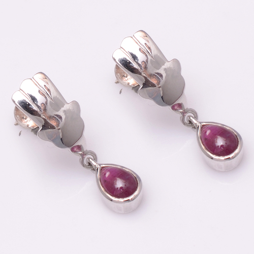 925 Sterling Silver Ruby Gemstone Earrings