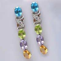 925 Sterling Silver Multi Semi-Precious Gemstone Earring