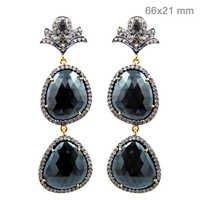 Black Spinel Diamond Gold Earrings
