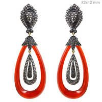 Pave Diamond Onyx Gold Earrings