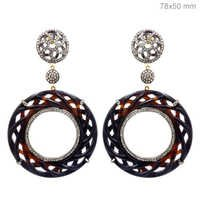 Gold Pave Diamond Onyx Earrings