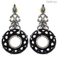 Onyx Diamond Gold Earrings