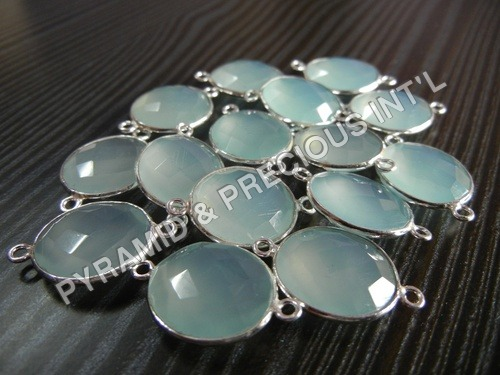 15 Piece Lot Of Aqua Chalcedony Connector