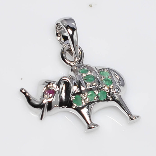 925 Sterling Silver Emerald Elephant Pendant