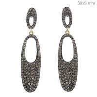 Gold Pave Diamond Earrings Jewelry