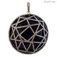 Onyx Pave Diamond Gold Pendant