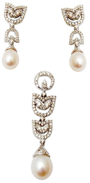 lovely pearl gift set, gold plated Necklace set with pearl