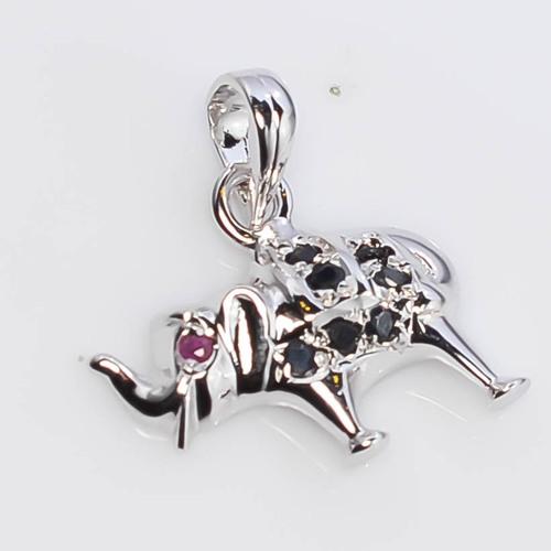 925 Sterling Silver Sapphire Elephant Pendant