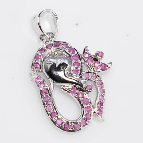 925 Sterling Silver Ruby Om Pendant