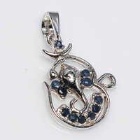 925 Sterling Silver Sapphire Om + Ganesha Pendant