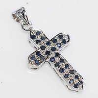 925 Sterling Silver Sapphire Cross Pendant