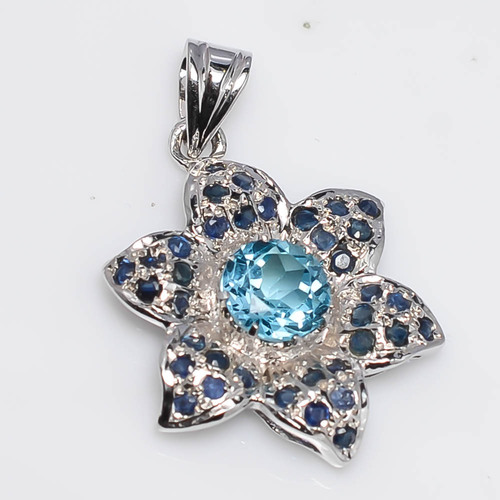 925 Sterling Silver Blue Topaz & Blue Sapphire Gemstone Pendant