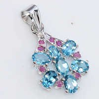 925 Sterling Silver Blue Topaz & Ruby Gemstone Pendant