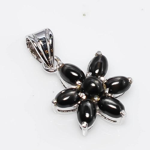 925 Sterling Silver Black Star Gemstone Pendant