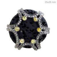 Black Tourmaline Diamond Silver Ring