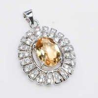 925 Sterling Silver Golden Topaz & Zicone Gemstone pendant