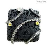 Diamond Black Tourmaline Silver Ring