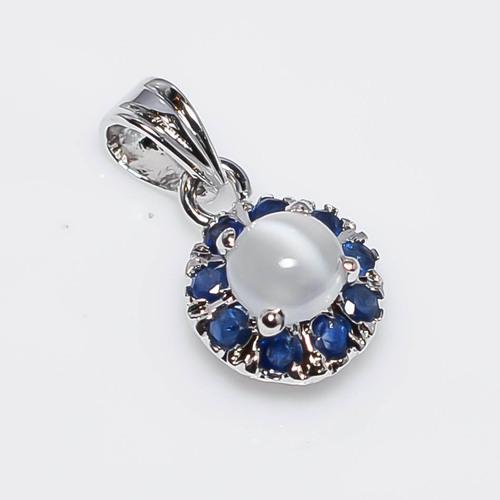 925 Sterling Silver Rainbow Moon & Blue Sapphire Gemstone Pendant