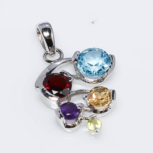 925 Sterling Silver Multi Semi-Precious Gemstone Pendant