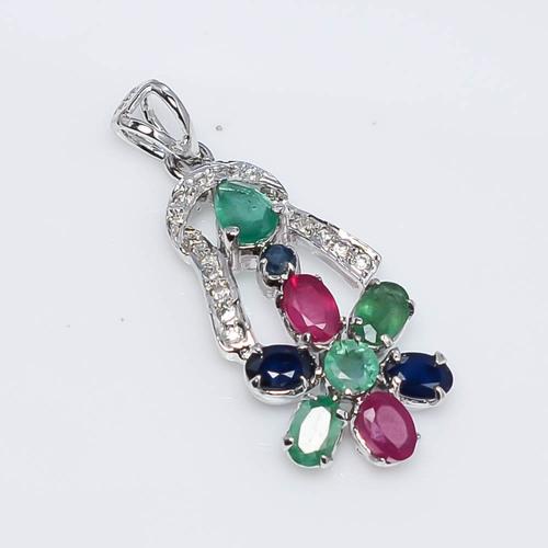 925 Sterling Silver Ruby Emerald sapphire & CZ Gemstone Pendant