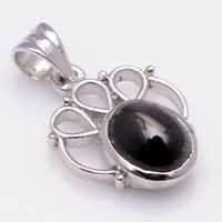 925 Sterling Silver Black Star Gemstone Pendant