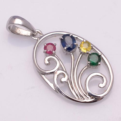 925 Sterling Silver Emerald, Ruby , Sapphire Gemstone Pendant