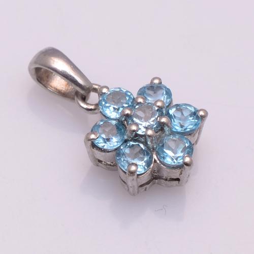 925 Sterling Silver Blue Topaz Gemstone pendant