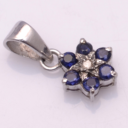 925 Sterling Silver Water Sapphire Gemstone Pendant