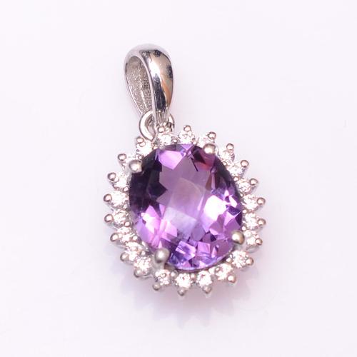 925 Sterling silver Amethyst & Zircon Gemstone pendant