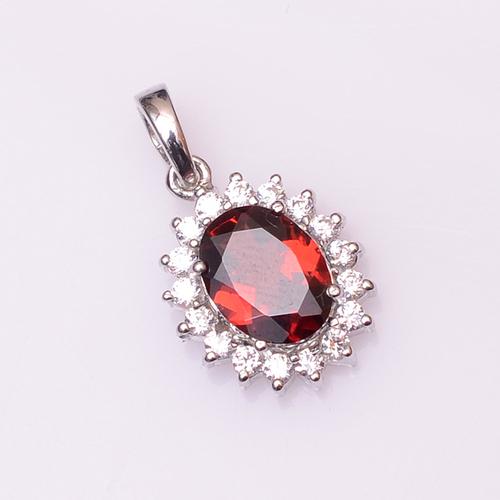 925 Sterling Silver Garnet & Zircon Gemstone pendant