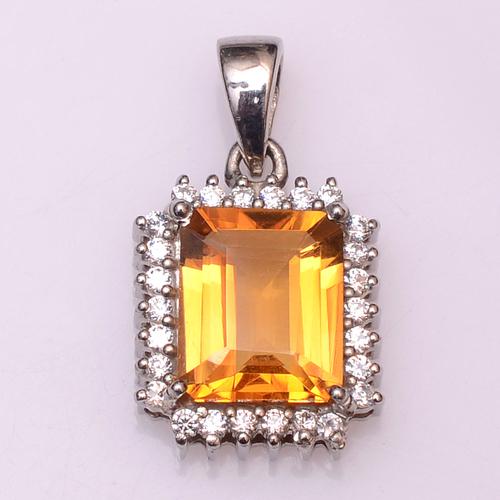 925 sterling silver Golden Topaz & Zircon gemstone pendant