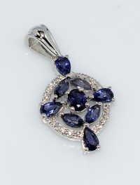 925 Sterling Silver Water sapphire & zircon Gemstone pendant