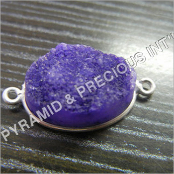 Silver Bezel Set Druzy Connectors Sell Per Piece