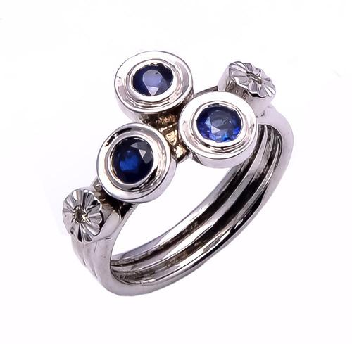 925 Sterling silver blue sapphire & Diamond Ring