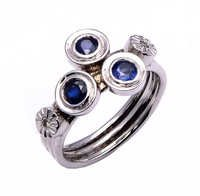 925 Sterling silver blue sapphire & Diamond Ring