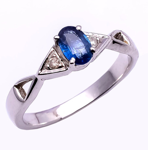 925 Sterling Silver Blue Sapphire & Diamond Gemstone Ring