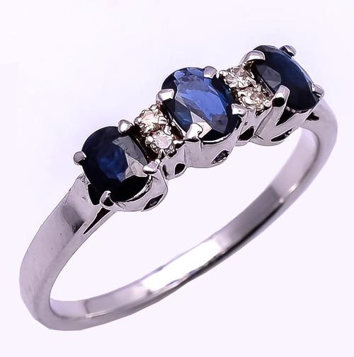 925 Sterling Silver Blue Sapphire & Diamond Gemstone Ring