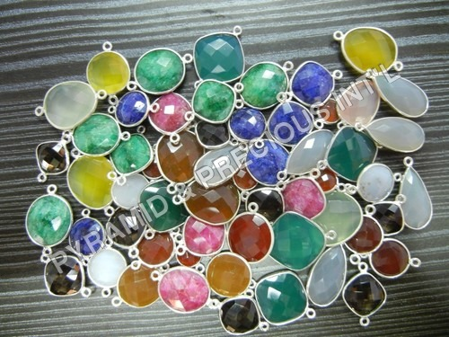 Mix Lot Of 25 Piece Silver Bezel GemstonConnector