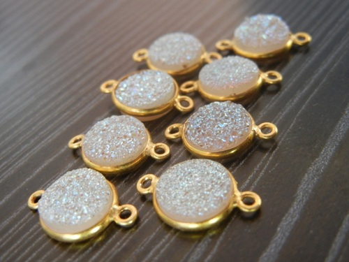 15 Piece Lot Of Druzy Gold Plated Connector