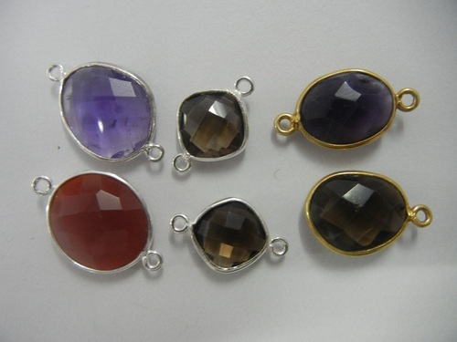 Silver Bezel Gemstone Connectors Sell Per Piece