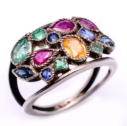 925 sterling silver precious gemstone ring