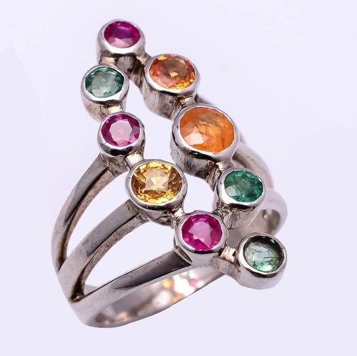925 sterling silver multi precious gemstone Ring